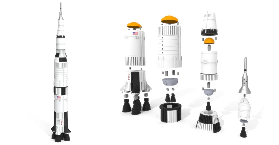 3D Printing Ideas, 3D Printer Projects, 3D Printed Saturn V Rocket