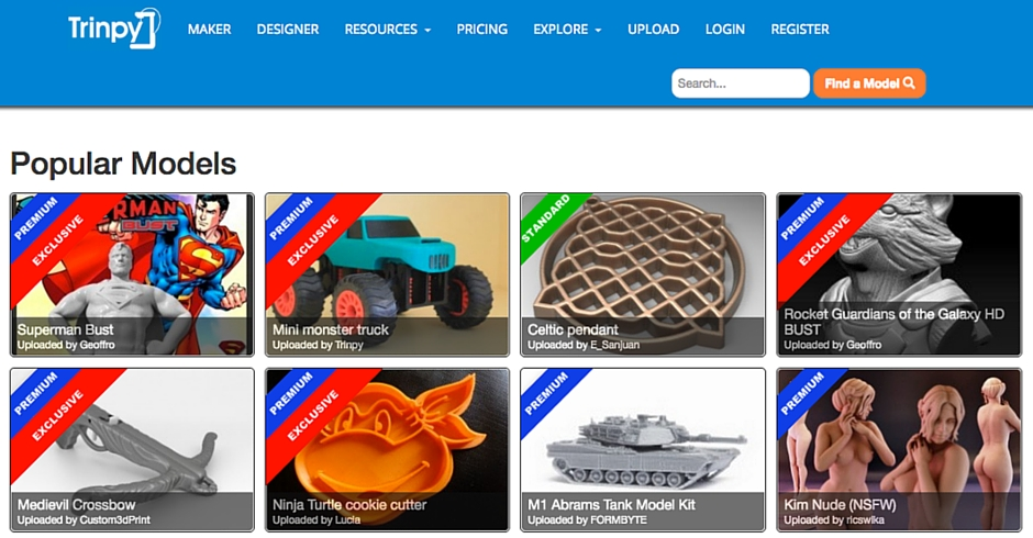 STL Files, 3D Printing Models, Trinpy